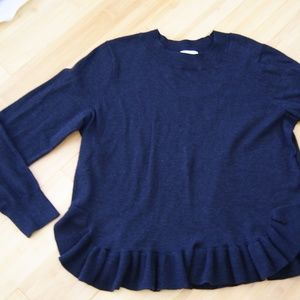 H&M black sweater with flounce sz L
